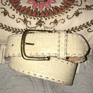 Lauren Ralph Lauren wise cream tooled leather belt